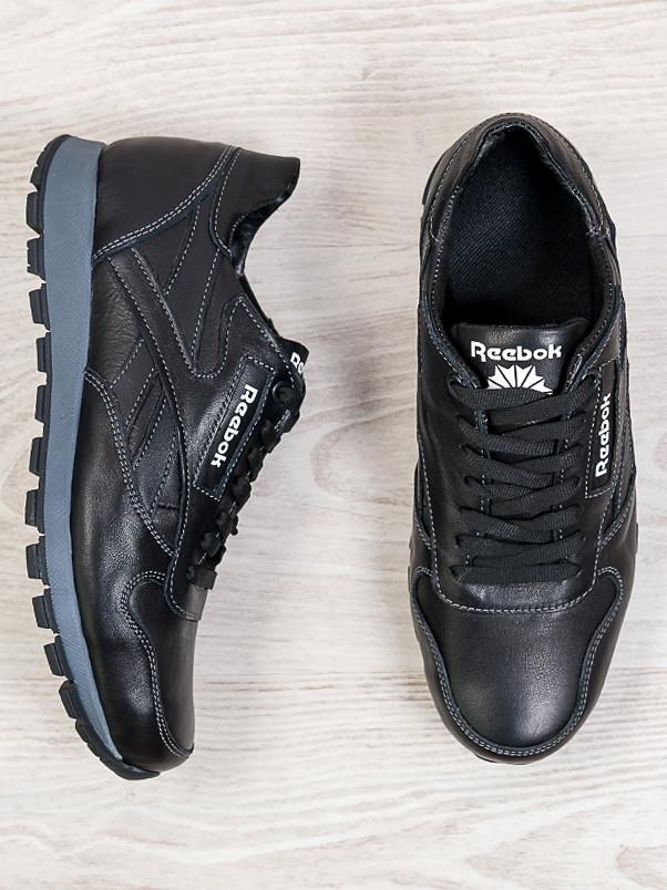 Мужские кроссовки Reebok черная кожа 6312-28