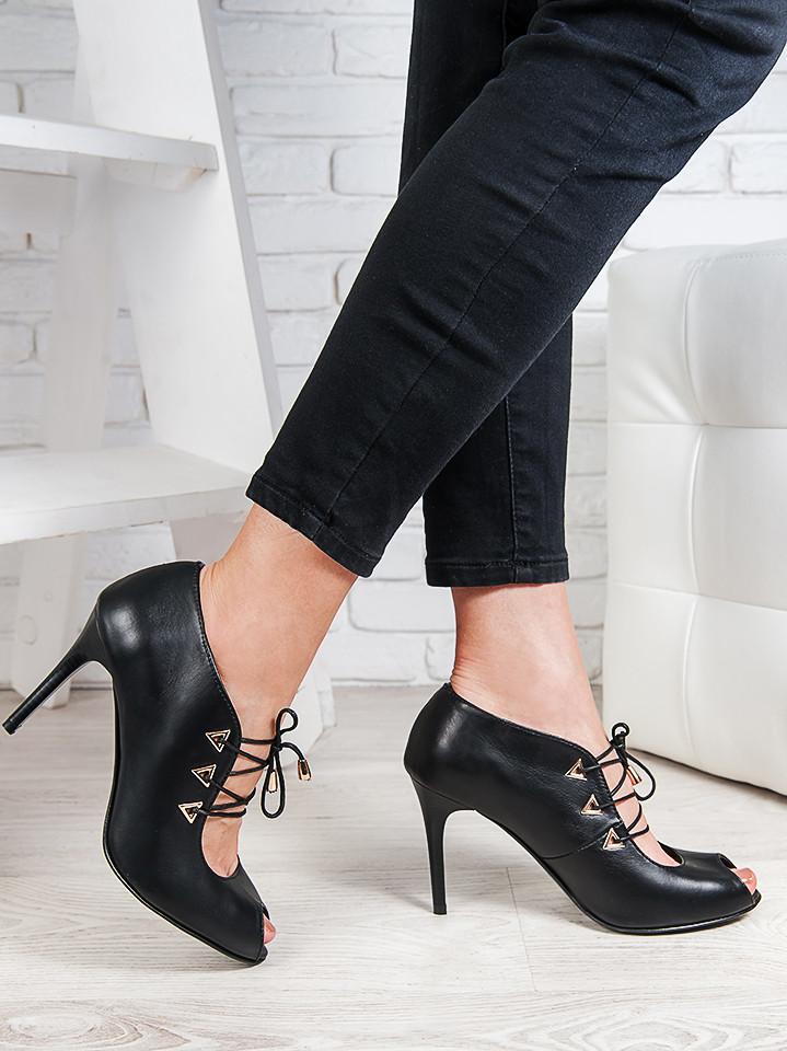Туфли шнурки каблук кожа 6383-28