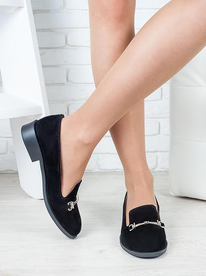 Туфли лоферы Пряжка замша 6414-28