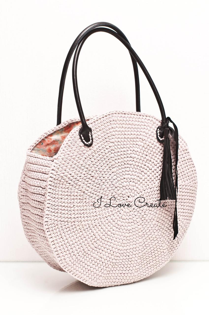 3f110c57dfd8 Вязаная сумка Cookie из трикотажной пряжи c кожаными ручками - Вязанные  сумки, схемы и видео