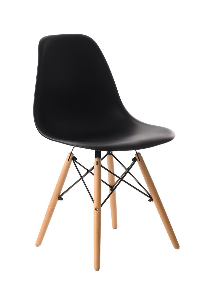 Пластиковый стул M-05 черный от Vetro Mebel + буковые ножки