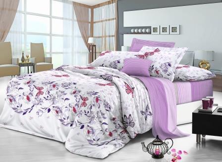 Евро комплект постельного белья 200*220 из сатина Красочные бабочки,однокомпонентный