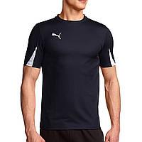 Футболка спортивная мужская Puma T-Shirt Team 701269 06 (темно-синяя, полиэстер, для тренировок, логотип пума)