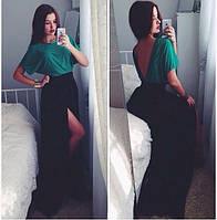 Платье вечернее.длиное , материал масло, цвет зеленый верх, черный низ длина 165 см есть фото реал АА №004