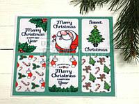 "Фетр жесткий с рисунком ""Ярлычки: Christmas"" на зеленом"