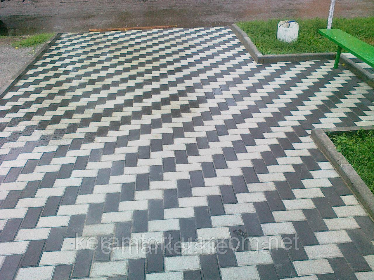 Тротуарная плитка Кирпичик (Серый) h - 40