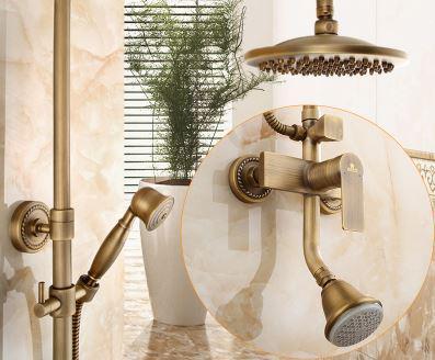 Душевая стойка для ванной с верхним душем со смесителем и лейкой бронза 0614