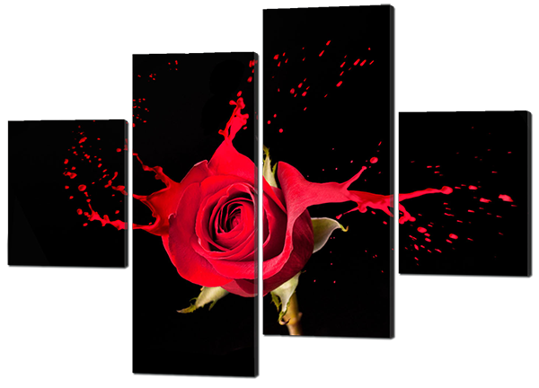 Модульная картина Роза. Красная на черном