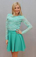 Платье с гипюром мята, фото 1