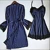 Шовковий халат і пеньюар Синій XL (48)