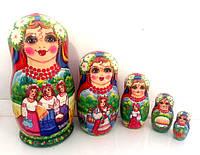Сувеніри українські Матрьошка 5 місць, 17 см велика ручної роботи, український стиль (4)