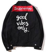Джинсовая куртка Supreme Jeans Black (Суприм, черная) L