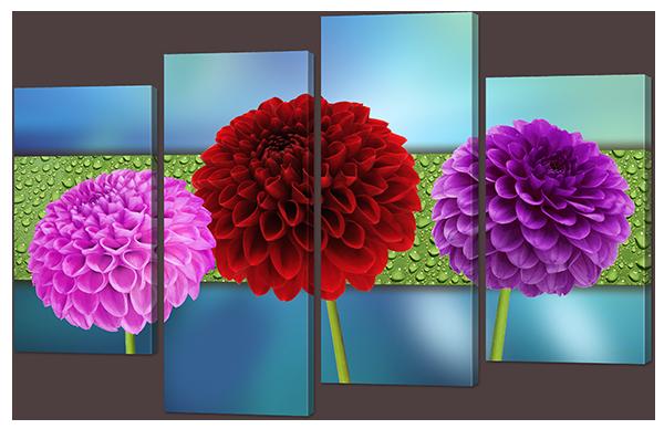 Модульная картина Цветы в красном и розовом