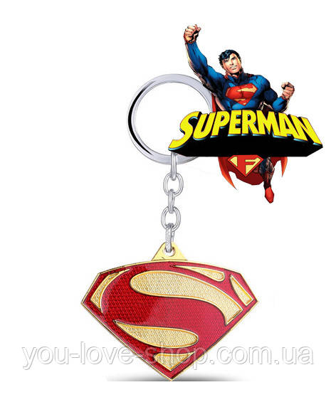 Брелок Супермен Superman DC комиксы красный с золотом