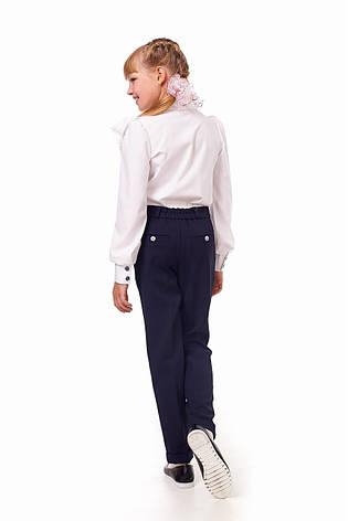 Школьные качественные красивые синие брючки с карманами на девочку, фото 2