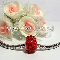 Бусина-пандора со стразами, 8 х11 мм, цвет красный