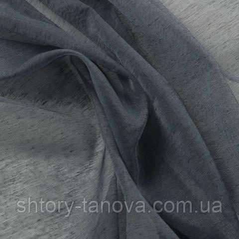 Тюль батист с утяжелителем, однотонный тёмно-серый