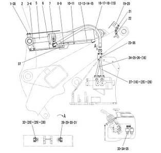 Гидроцилиндр поворота ковша в сборе F4-2914000836 | Гидравлическая система фронтального колесного погрузчика SDLG LG936L