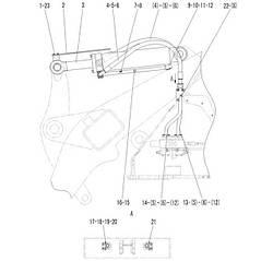 Гидроцилиндр поворота ковша в сборе F4-2914000401   Гидравлическая система фронтального колесного погрузчика SDLG LG936L