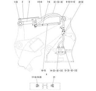 Гидроцилиндр поворота ковша в сборе F4-2914000871 | Гидравлическая система фронтального колесного погрузчика SDLG LG936L