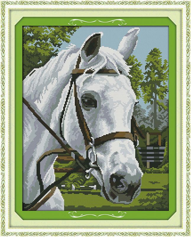 Белая лошадь D314/1 Набор для вышивки крестом с печатью на ткани 14ст