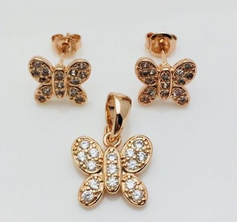 Набор Бабочка, серьги гвоздики+ кулон