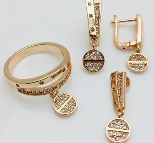 Набор серьги + кольцо+ кулон, размер кольца 17, 18, 19