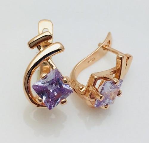 Серьги Fallon Камушек фиолетовый, позолота 18К