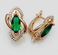 Серьги Fallon Пьемонт зеленые, позолота 18К + родий