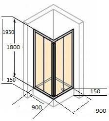 Квадратні душові кабіни 90х90
