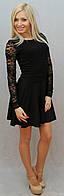 Платье с гипюром чёрный, фото 1