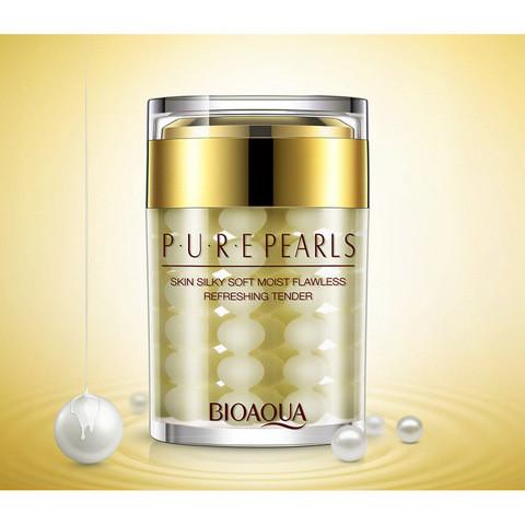 Увлажняющий антивозрастной крем для лицас натуральной жемчужной пудройBioAqua Pure Pearls 60 ml