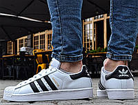 Мужские кроссовки Adidas Superstar Supercolor white/black/gold. Живое фото. Топ Реплика ААА+