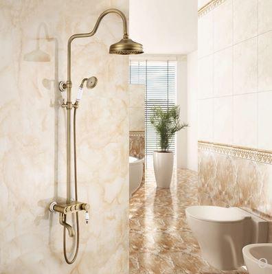 Душевая стойка для ванной со смесителем лейкой и тропическим душем бронза 0615