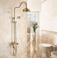 Душевая стойка для ванной со смесителем лейкой и тропическим душем бронза 0615, фото 1