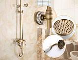 Душевая стойка для ванной со смесителем лейкой и тропическим душем бронза 0615, фото 4