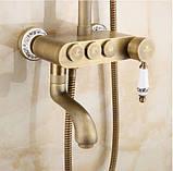 Душевая стойка для ванной со смесителем лейкой и тропическим душем бронза 0615, фото 3
