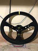 Руль гоночный для авто OMP желтый