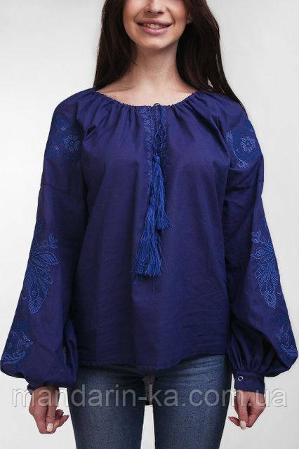 Вышиванка синяя женская блуза с пышным рукавом Птицы   продажа 0c2750ff952b7