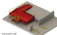 Пандус перегрузочный угловой 6т с платформой уравнительной 2х2м и эстакадой стационарной 5м