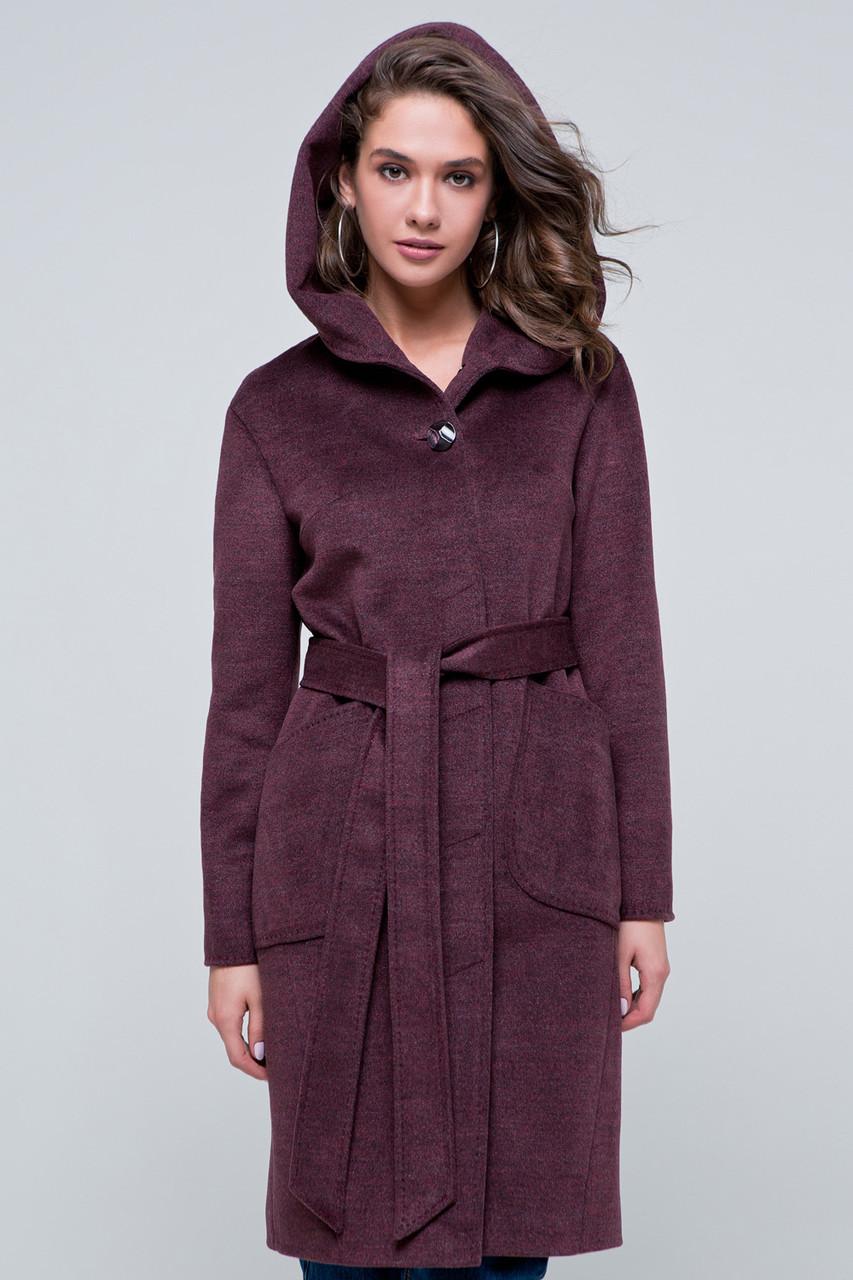db426d15418 Пальто с капюшоном «Камилла» бордовое - Интернет-магазин женской одежды