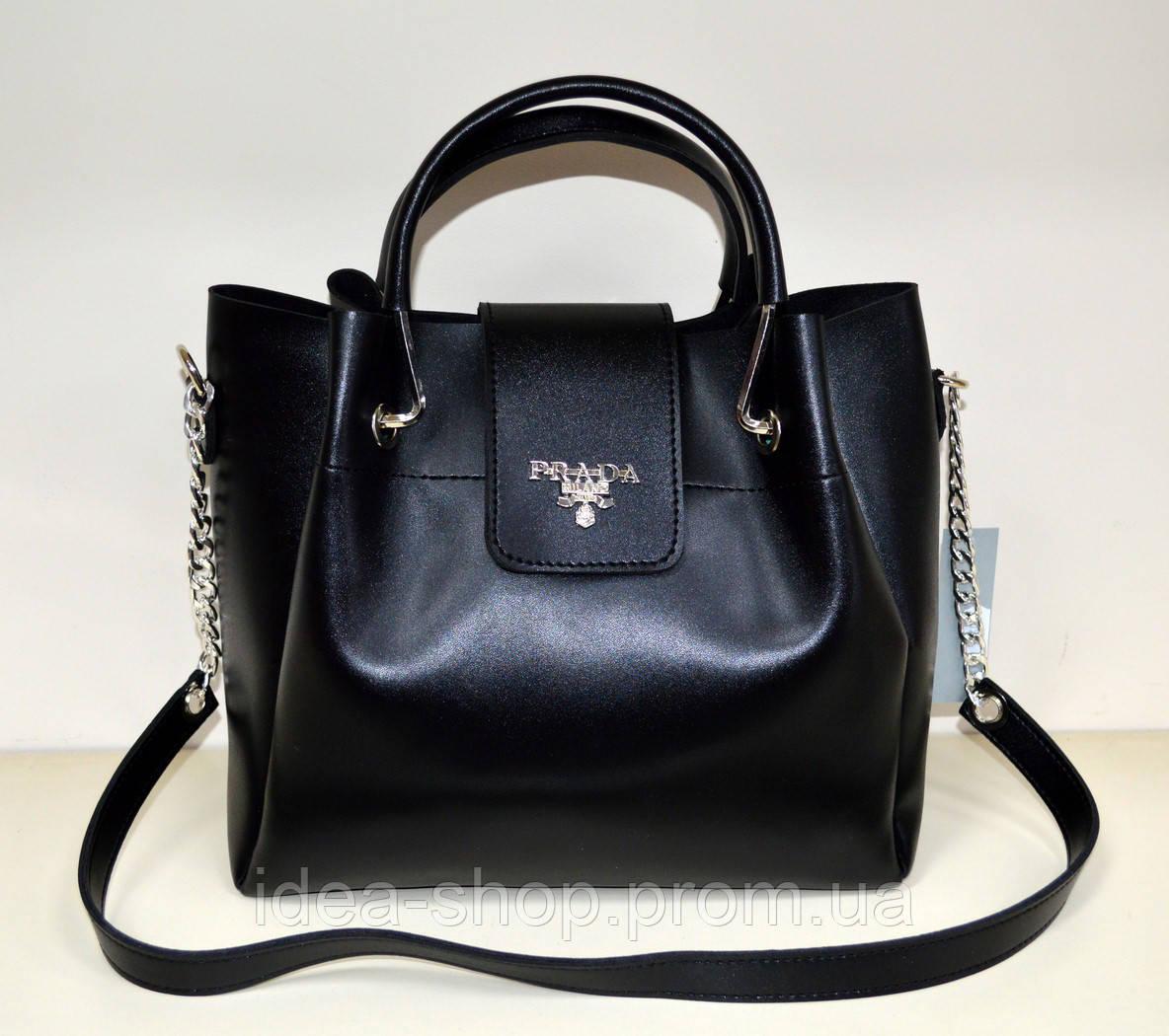 8517ac6cfe45 Стильная сумка PRADA реплика из экокожи черного цвета - интернет-магазин