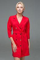 Двубортное офисное платье-жакет на кнопках