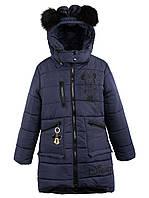 Зимние пальто для девочки 19-09 (Синяя 110)