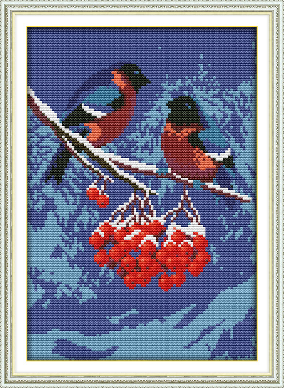 Снегири D328/2 Набор для вышивки крестом с печатью на ткани 14ст