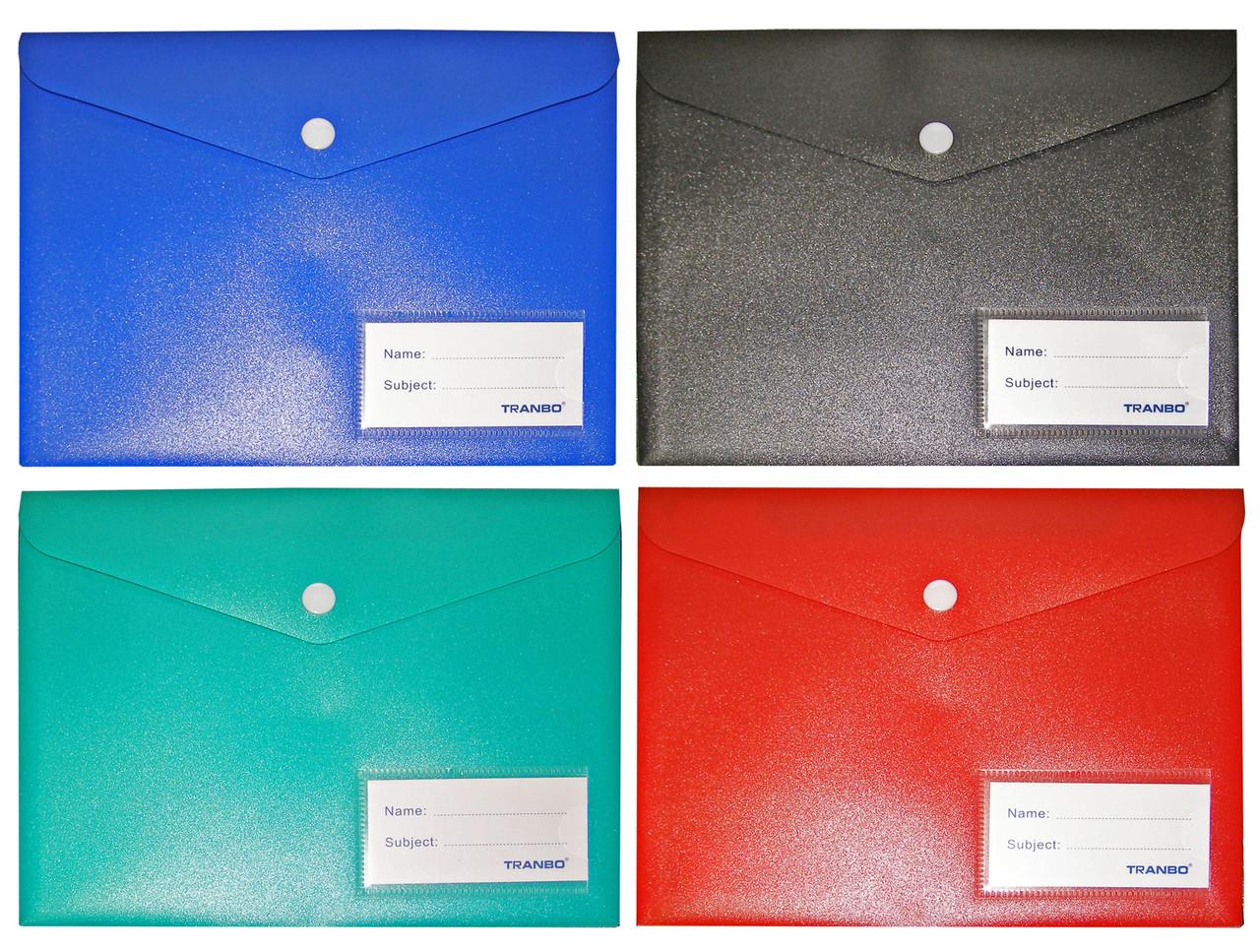 Папка-конверт A-5, 1707T матовая, плотная, кнопка, 22х17см