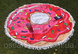 Пляжное круглое полотенце / подстилка Пончик 165 см / полотенце на пляж / пляжный коврик махра / опт