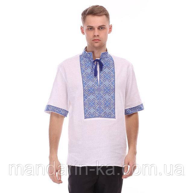 Коттоновая рубашка с синим орнаментом
