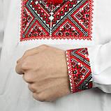 Вишиванка коттоновая з червоним орнаментом, фото 4