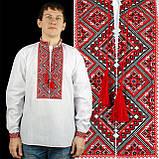 Вишиванка коттоновая з червоним орнаментом, фото 2